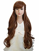 "cheap -26"" womens brown princess long wavy wig with bangs synthetic party halloween wigs wig cap included (child)"
