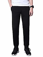cheap -men's workout jogger casual pants lightweight breathable cotton running outdoor sweatpants with zipper pockets(10429black xl)