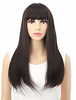 "cheap -fashion silky long straight wig with air bangs natural brown wig 22 inches women's heat resistant synthetic full hair cosplay wig for girl(22"",natural brown)"