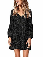 cheap -women dot print dress pockets ladies shift jersey slouch oversized fit work party casual tunic light smock smart floaty dress