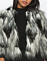 cheap -3/4 Length Sleeve Coats / Jackets Faux Fur Office / Career Women's Wrap With Color Block