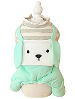 cheap -autumn winter four-legs star printed strap crew neck fleece long-eared dog costumes for small, extra small dog, teddy, pug, chihuahua, shih tzu, yorkshire terriers green m