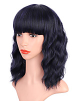 cheap -Pink Wig with Bangs Colored Wigs for Women Girls Pastel Wavy Bob Wig Heat Resistant Synthetic Wig Shoulder Length Party Cosplay Use