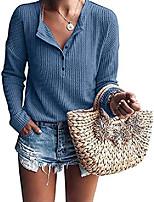 cheap -women's casual buttons v neck tshirt flowy long sleeve waffle knitted blouse tops blue,xxl