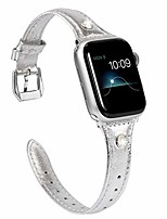 cheap -silver thin leather compatible with apple watch slim bands 42mm 44mm for iwatch se womens top grain straps bling big rhinestone wristband replacement (silver clasp) series 6 5 4 3 2 1