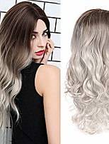 "cheap -cheap wavy soft ombre curly hair wigs length 24"" black to white gradient synthetic heat-resistant fiber suitable for various daily life 24 inchs"