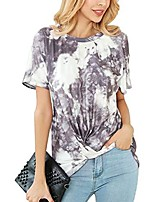 cheap -womens summer chiffon floral print blouses print tank tops tie-dyed cute tops plus size (tie-dyed coffee, m)