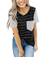 cheap -women's summer striped short sleeve contrast color casual t-shirt tops with pocket black