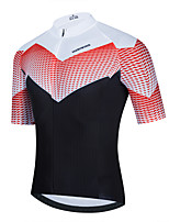 cheap -Men's Short Sleeve Cycling Jersey Red Plaid Checkered Bike Top Mountain Bike MTB Road Bike Cycling Breathable Quick Dry Sports Clothing Apparel / Stretchy / Athletic