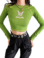 cheap -women's 90s e-girl butterfly graphic print stitch crop tops crew neck y2k green crop tee top (small, blue-2)