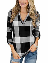 cheap -women long sleeve flannel plaid shirt pullover v neck tops casual loose boyfriend tunic blouses plus size(a-black,small)