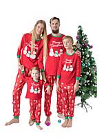 cheap -Family Look Snowman Graphic Letter Print Long Sleeve Regular Regular Clothing Set Red