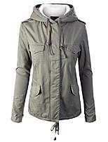 cheap -women's fleece lined hidden zipper front closure utility jacket olive m