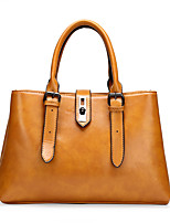 cheap -Women's Bags PU Leather Leather Satchel Top Handle Bag Buttons Zipper Handbags Daily Outdoor Black Yellow Dark Coffee Brown