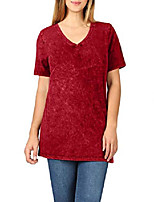 cheap -womens comfy classic short sleeve mineral wash v-neck hip length cotton tops s-3xl