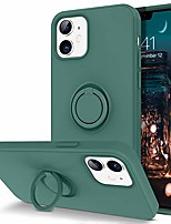 "cheap -compatible with iphone 12 case and iphone 12 pro case, slim silicone soft rubber with 360° ring holder kickstand car mount supported protective cute phone cases 5g 6.1"" (2020), midnight green"