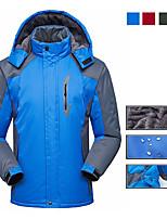 cheap -Men's Hoodie Jacket Hiking Jacket Ski Jacket Winter Outdoor Solid Color Waterproof Windproof Fleece Lining Breathable Jacket Winter Jacket Single Slider Camping / Hiking Hunting Ski / Snowboard Black