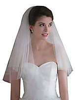 cheap -simple short 2 tier soft tulle white bridal wedding veil with comb