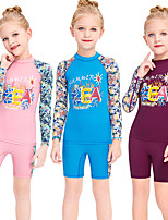cheap -Girls' Rash Guard Dive Skin Suit Diving Suit Breathable Quick Dry Long Sleeve Swimming Surfing Water Sports Patchwork Summer / Stretchy / Kid's