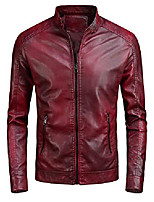 cheap -mens quilted leather moto jacket red