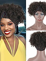 cheap -afro curly wigs for black women black headband wig short kinky curly wigs with head wraps afro wrap wigs 2 in 1 jerry curly synthetic curly hair wigs for women scarf turban wrap wigs