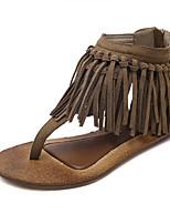 cheap -Women's Sandals Flat Heel Open Toe Roman Shoes Daily PU Tassel Solid Colored Black Khaki