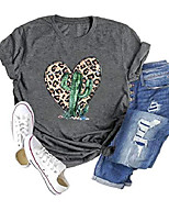 cheap -chulianyouhuo women cactus t-shirt leopard print heart shirt funny graphic tee casual short sleeve tops grey