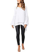 cheap -women's lantern long sleeve t-shirt round neck high low dress asymmetrical irregular hem casual tops blouse (c-white, xl)