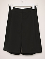 cheap -Women's Streetwear Comfort Daily Going out Shorts Pants Solid Colored Short Split Black