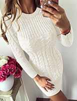 cheap -Women's Stylish Knitted Solid Color Pullover Long Sleeve Sweater Cardigans Crew Neck Fall Winter White Black Blue