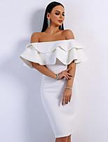 cheap -Sheath / Column Elegant Minimalist Party Wear Cocktail Party Dress Off Shoulder Short Sleeve Short / Mini Spandex with Ruffles 2020