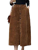 cheap -women's corduroy midi skirt front split button front a-line dress (brown, medium)