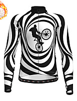 cheap -21Grams Men's Long Sleeve Cycling Jersey Winter Fleece Polyester Black / White 3D Bike Jersey Top Mountain Bike MTB Road Bike Cycling Fleece Lining Warm Quick Dry Sports Clothing Apparel / Stretchy