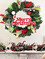 """cheap -aster 16"""" christmas wreath for front door, artificial xmas wreath hanging, evergreen garland with bowknot, pinecone, apple, red berries, present ornaments for home party decoration holiday winter gift"""