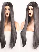 cheap -Cosplay Costume Wig Synthetic Wig Straight Natural Straight Middle Part Wig Long Black Synthetic Hair Women's Odor Free Soft Silky Black / Heat Resistant