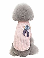 cheap -dog sweater,bowtie flower dogs pullover knit fall winter warm pet sweater cute clothes (xl, pink)