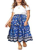 cheap -women's boho floral print elastic high waist pleated a line midi skirt (blue2, large)