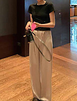 cheap -Women's Basic Streetwear Comfort Daily Going out Pants Chinos Pants Solid Colored Full Length Classic Black Beige