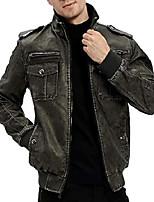 cheap -mens vintage motorcycle jacket zipper closure pu faux leather outweatr coat grey