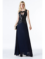 cheap -A-Line Sexy Sparkle Prom Formal Evening Dress Jewel Neck Sleeveless Floor Length Chiffon Sequined with Sequin 2020