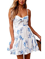 cheap -womens dresses floral spaghetti strap tie knot front flowy pleated mini swing dress white xl