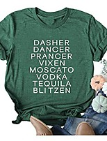 cheap -womens dasher dancer letters printed t shirt short sleeve casual shirt cute graphic tee top