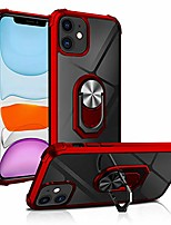 cheap -iphone 11 case with ring holder, military grade clear crystal phone case with car mount kickstand for apple iphone 11 6.1 inch, red