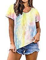 cheap -womens t shirts tie dye tshirt v neck short sleeve tee shirt casual basic loose tees ts08 yellow xxl