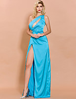 cheap -Sheath / Column Cut Out Sexy Prom Formal Evening Dress One Shoulder Sleeveless Floor Length Spandex with Split 2020