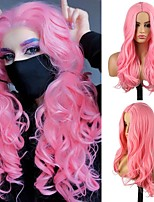 cheap -Cosplay Costume Wig Synthetic Wig Wavy Body Wave Middle Part Wig Long Pink+Red Synthetic Hair Women's Odor Free Fashionable Design Soft Pink / Heat Resistant