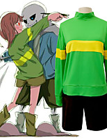 cheap -Inspired by Undertale Frisk Anime Cosplay Costumes Japanese Cosplay Suits Top Shorts For Men's Women's