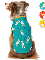 cheap -Dog Shirt / T-Shirt Animal Rabbit / Bunny Printed Animals Casual / Daily Dog Clothes Puppy Clothes Dog Outfits Breathable Yellow Red Blue Costume for Girl and Boy Dog Polyster S M L XL