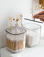 cheap -New Plastic Nordic Desktop Swab Jewelry Doxes Creative Lovely Home Swab Box Acrylic With Cover Toothpick Box