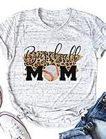 cheap -baseball mom shirt women leopard print cute baseball tee shirt funny casual short sleeve graphic t shirt tops white